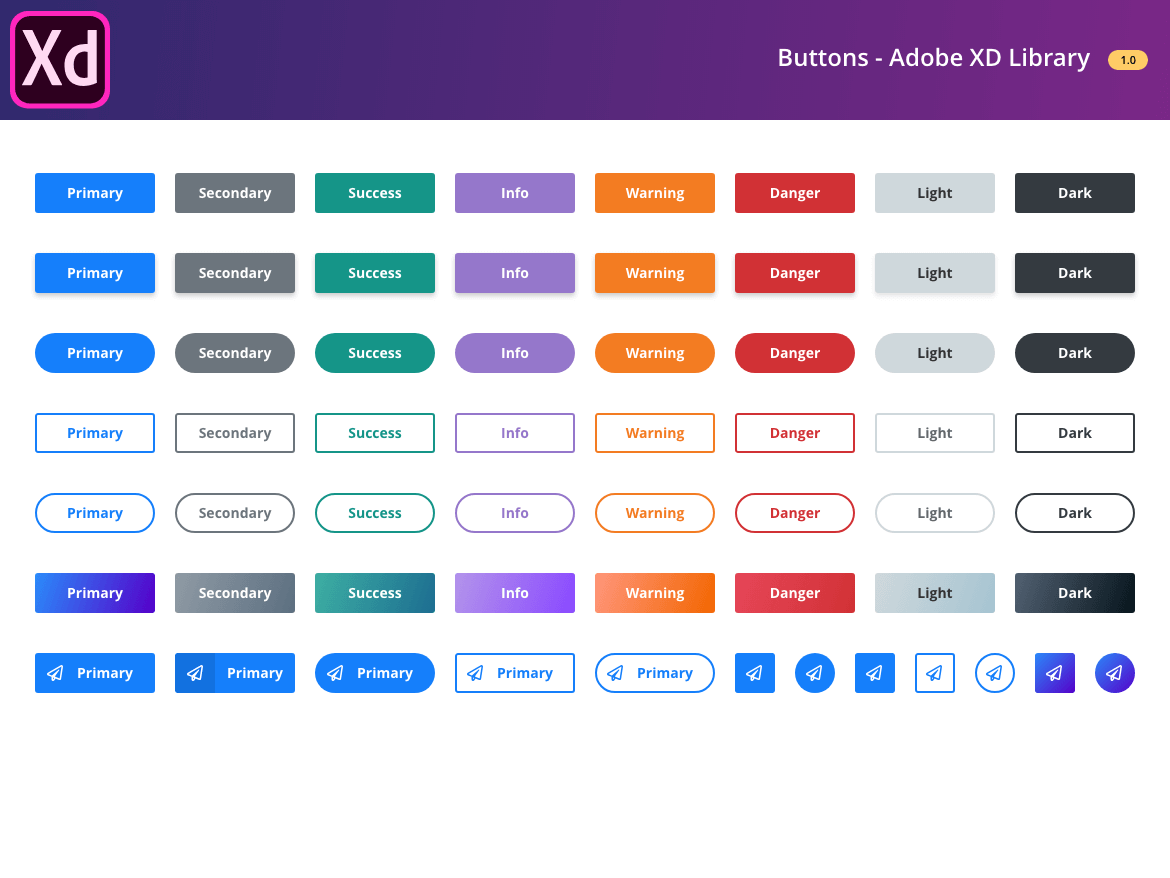 Buttons - Adobe XD Library · Snip UI